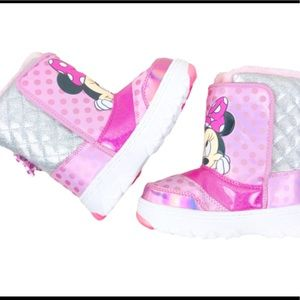 Girls Pink Minnie Mouse Snow Winter boots 12